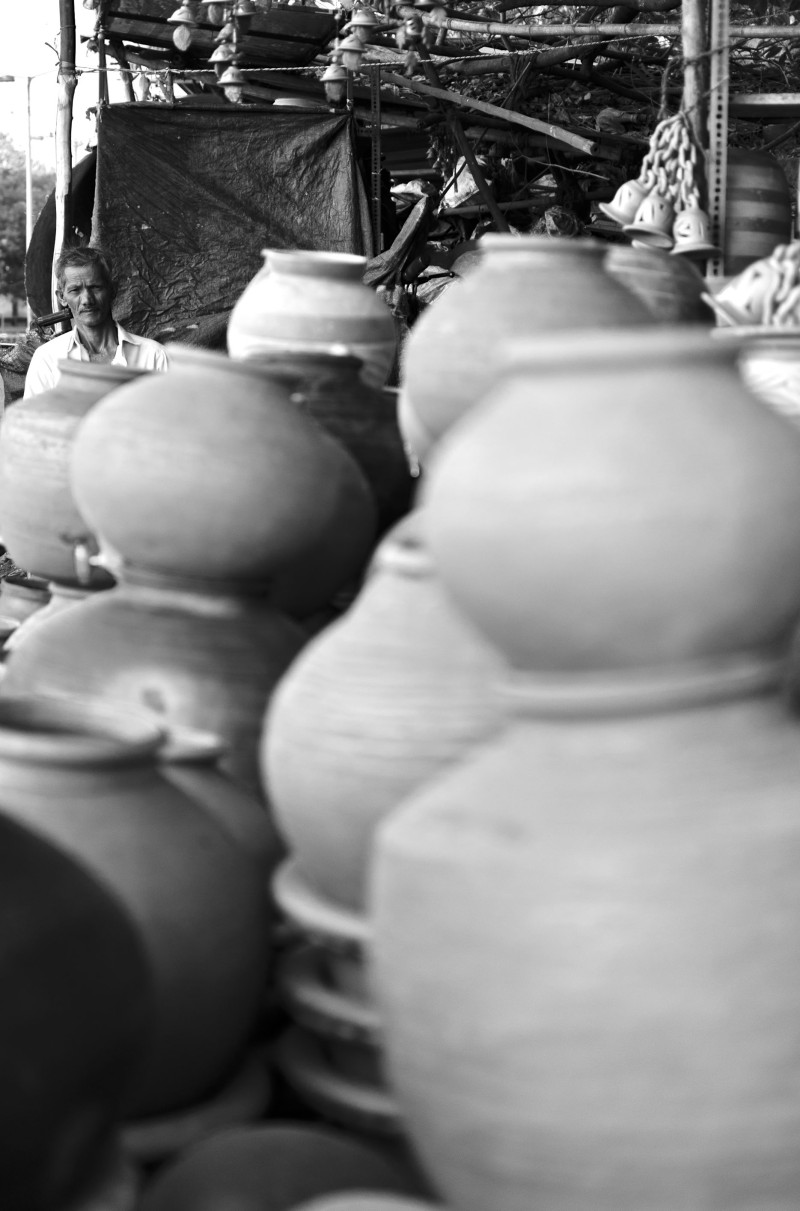 Amidst clay pots