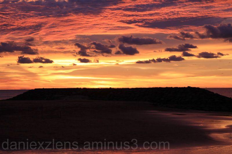 sunset, sea view