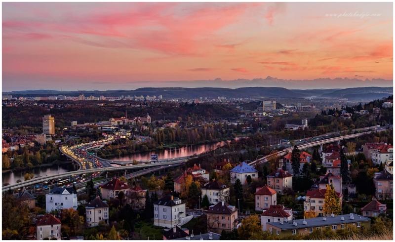 Reddened Prague,Czech republic.