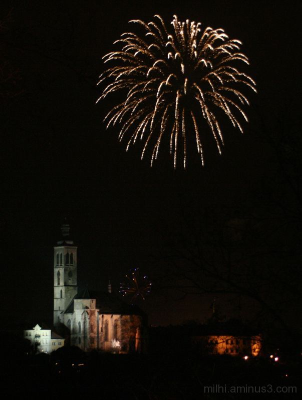 fireworks kutna hora church
