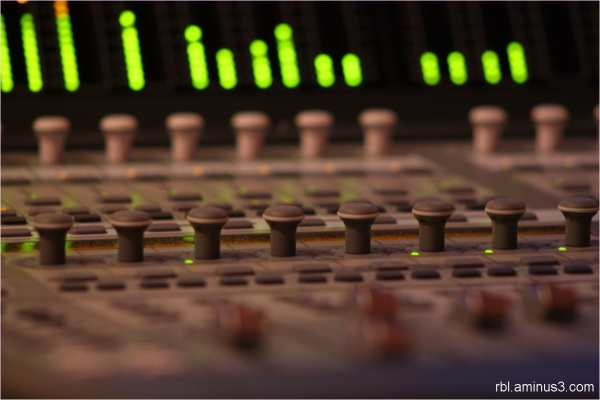 mixing board in recording studio