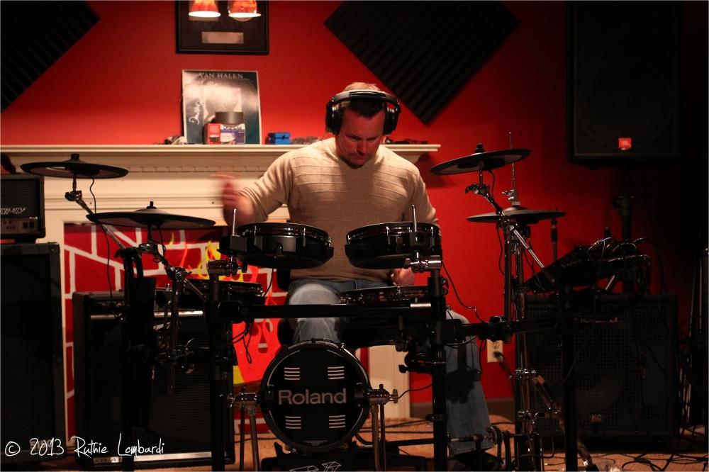 recording studio session at corner house records