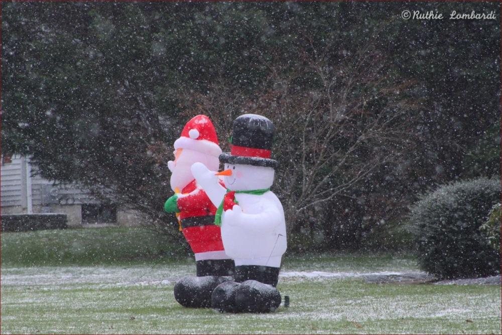 Blow up Santa and snowman