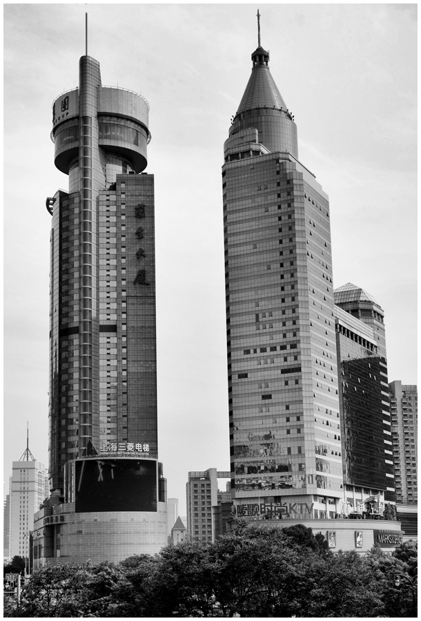 Shanghai Towers black white china n&b