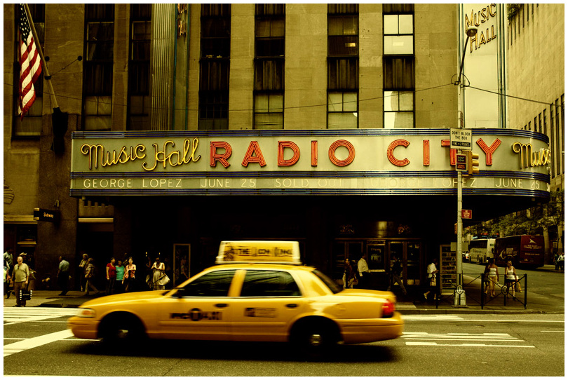 Cab and Radio City Hall NYC