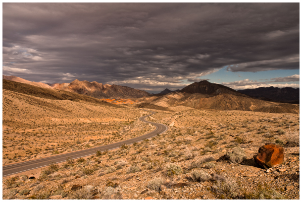 Lonely highway by the Lake Mead, Nevada, USA