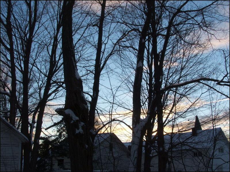sunset rural vermont winter