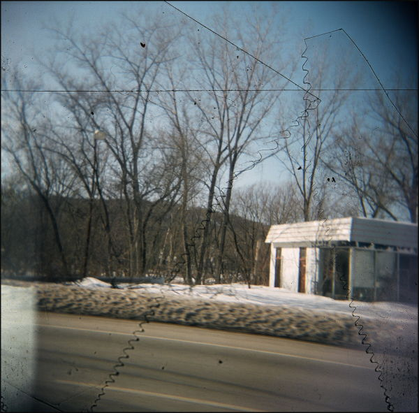 Holga 120 Vermont abandoned garage winter