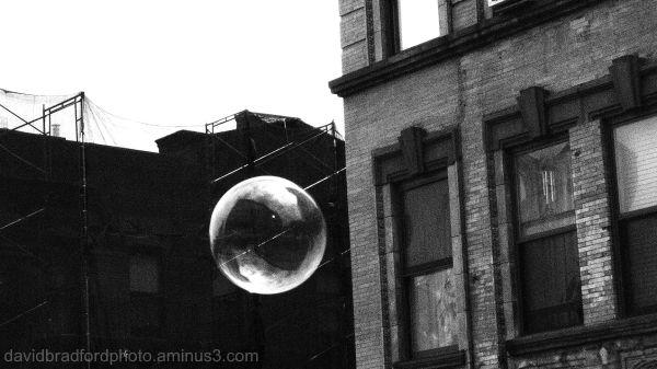 a bubble in urban setting