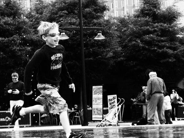 boy running in park