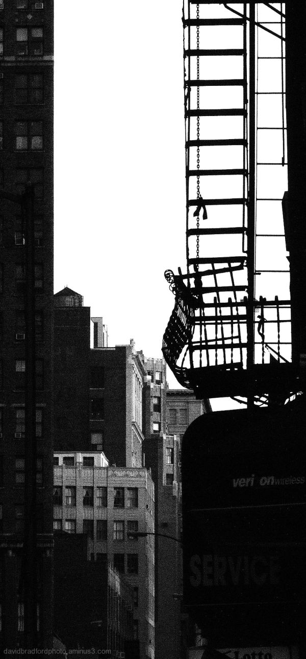 old fire escape and urban buildings