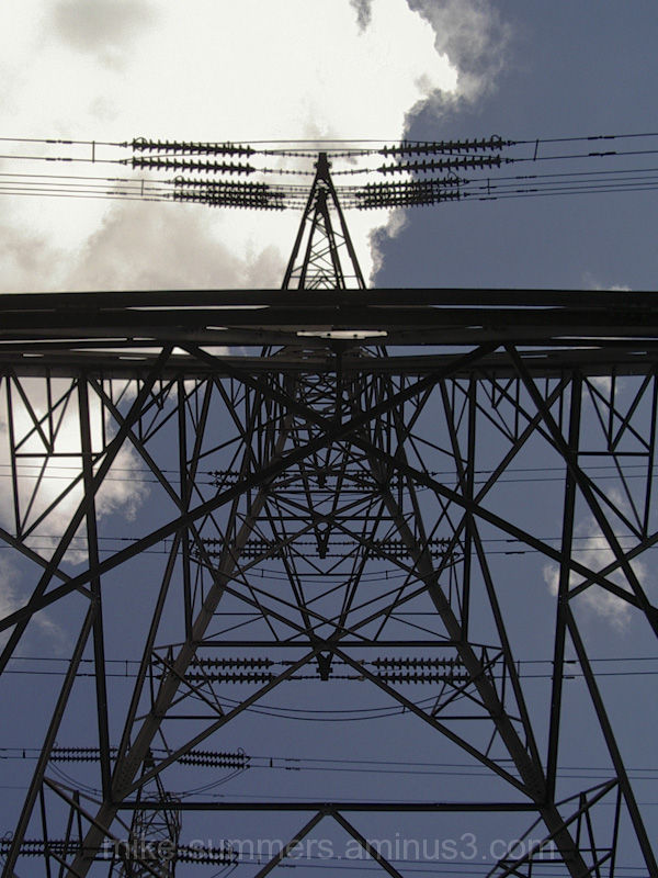 Looking up at an electricity pylon