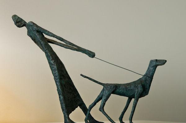 bronze figure and dog