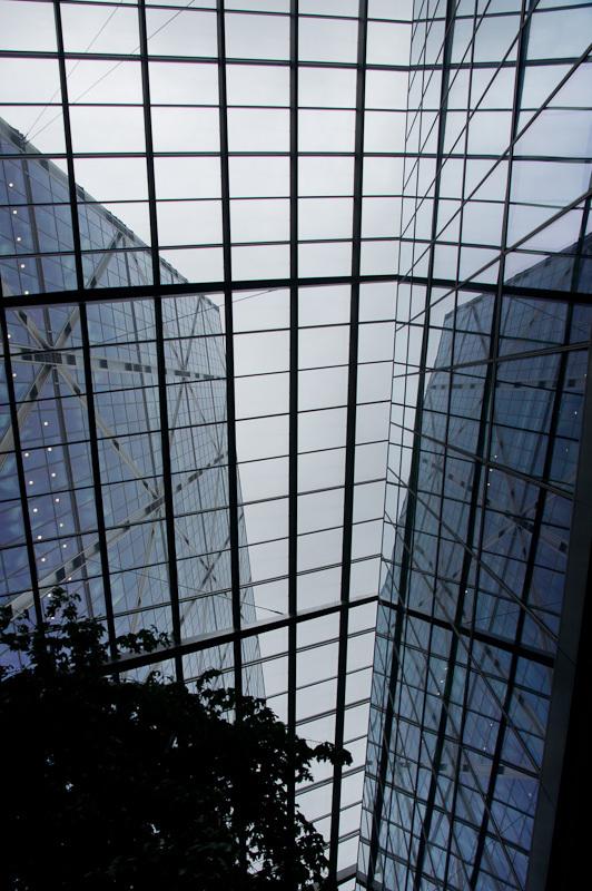 looking up through building atrium