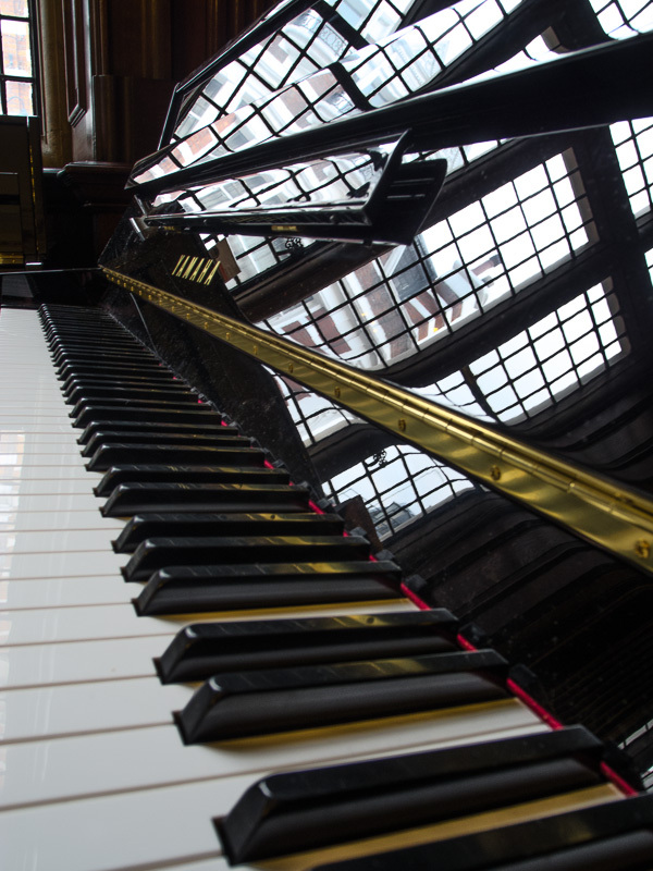 Piano keys and reflections