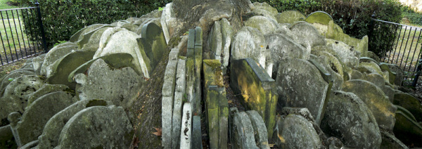 Grave stone pileup