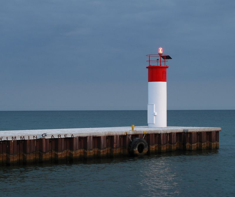 Lighthouse at Port Dover pier on Lake Erie