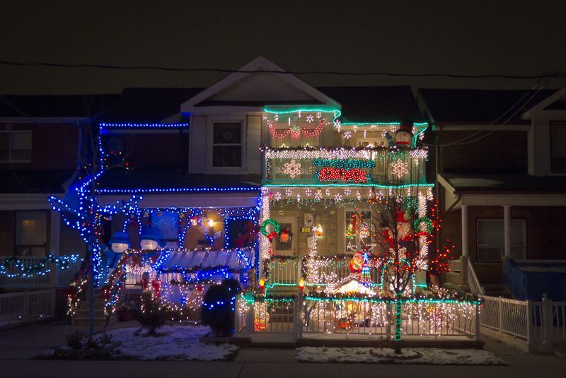 Toronto, Christmas lights, house, night, lights