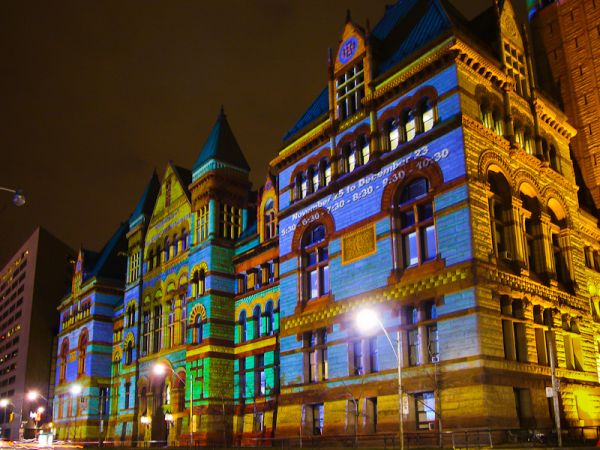 """Toronto """"Old City Hall"""" Christmas nigh lights"""