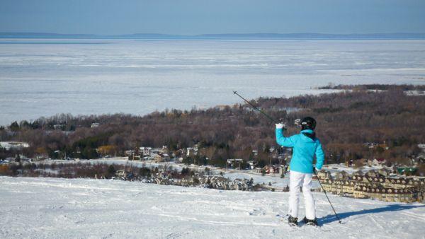 """""""Blue Mountain"""" Ontario snow ski people view ice"""