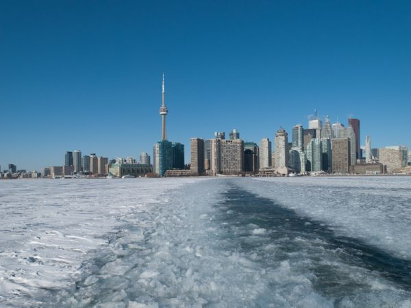 "Toronto skyline ""Lake Ontario"" Winter ice"