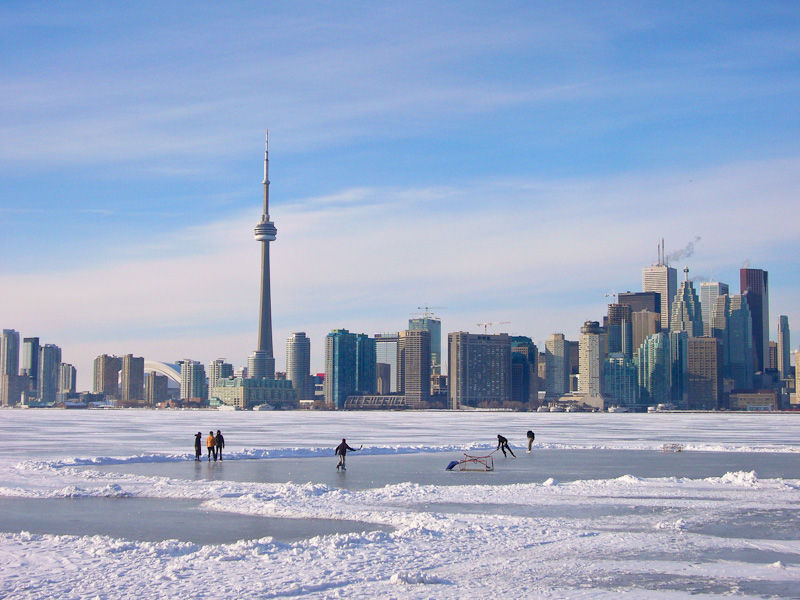 """Toronto Islands"" Winter ice Lake Ontario hockey"
