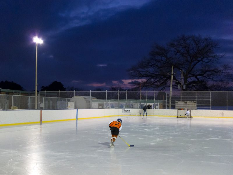 "Toronto ""High Park"" ice hockey Winter dusk people"