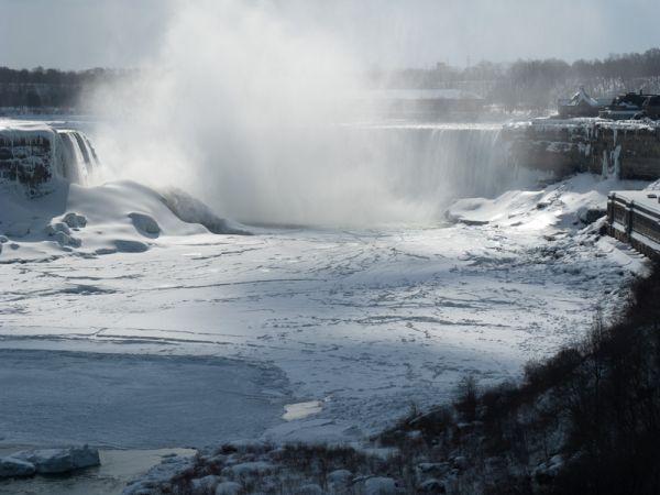 """""""Niagara Falls"""" Winter frozen ice snow mist sun"""