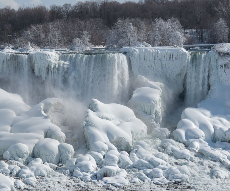 """Niagara Falls"" Winter frozen ice snow falls mist"
