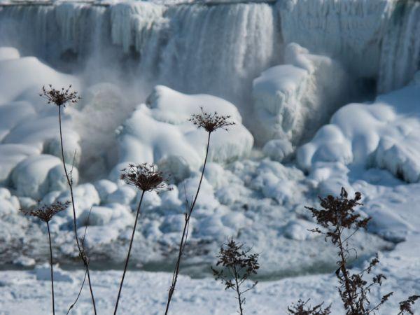 """Niagara Falls"" Winter frozen ice snow falls"