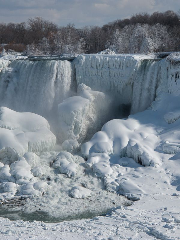 """Niagara Falls"" Winter frozen ice snow falls"