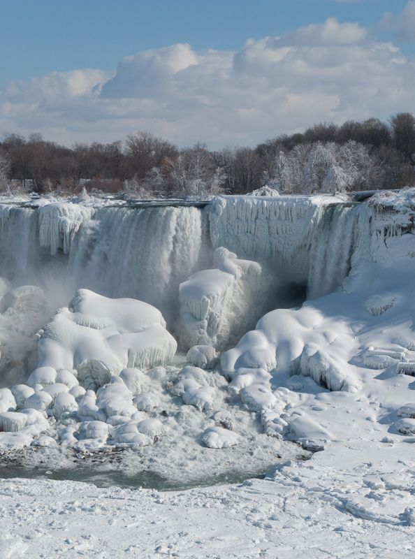 """Niagara Falls"" Winter frozen ice snow clouds sky"