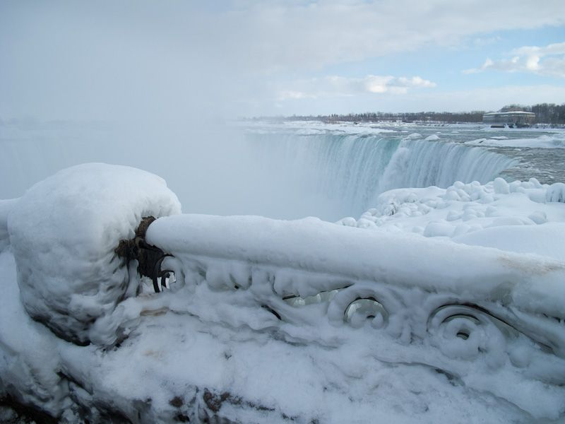 """Niagara Falls"" Winter frozen ice snow falls sky"