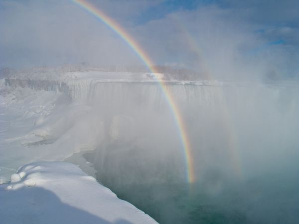 """Niagara Falls"" Winter frozen ice snow rainbow sky"