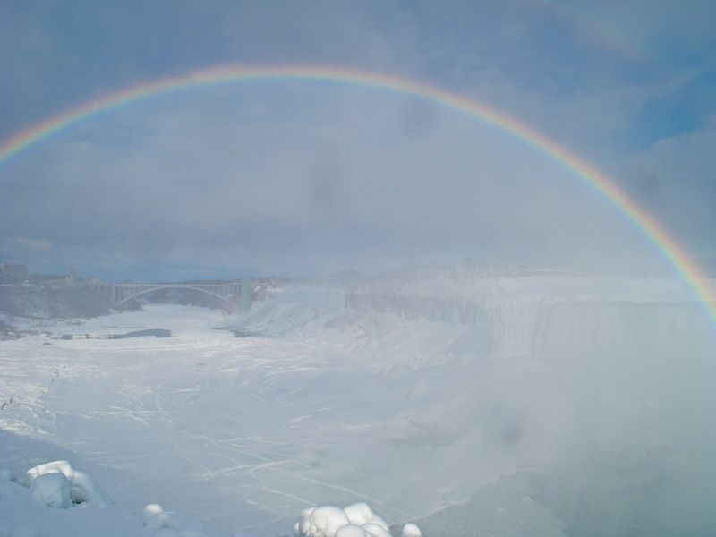 """Niagara Falls"" Winter frozen ice snow rainbow sky"