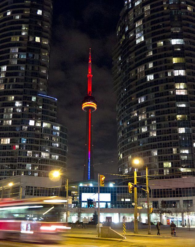 Toronto night lights downtown TTC streetcar CN