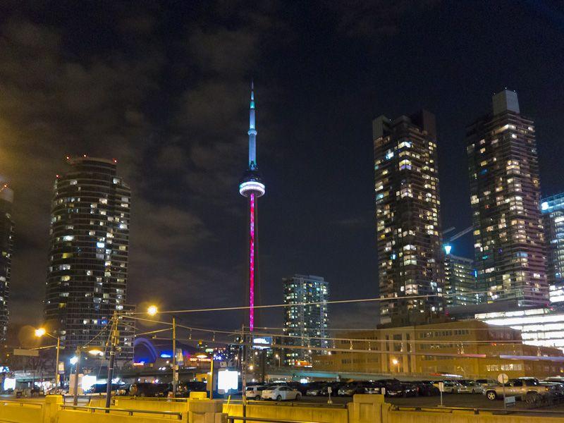 Toronto, night, downtown, buildings, CN Tower