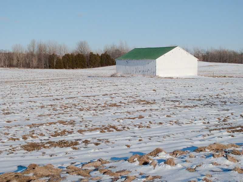 Ontario Winter snow filed barn