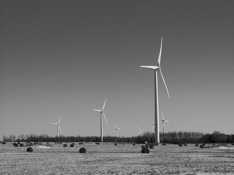 windmill, fields, Shelburne, Ontario, B&W