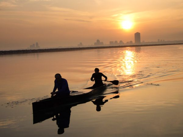 """""""Lake Ontario"""" Toronto lake people canoe paddeling"""