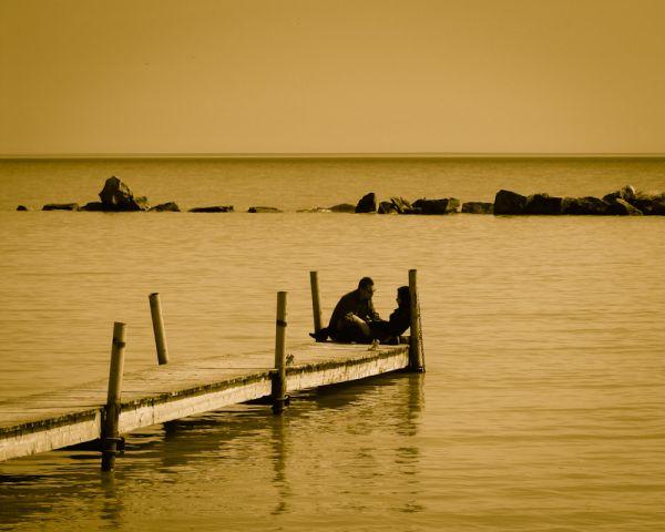 "Toronto ""Lake Ontario"" Sunnyside sunset sepia"