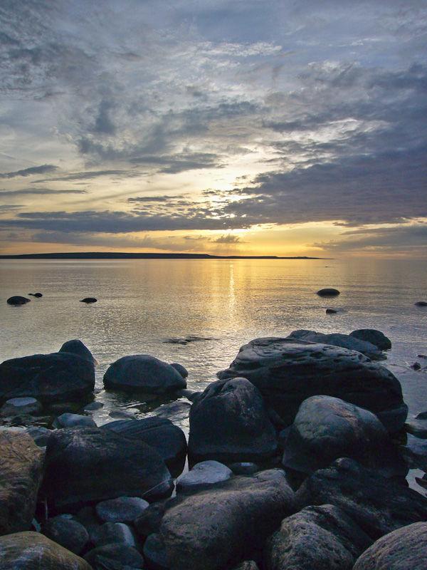 Awenda Ontario Spring lake rocks sunset sky