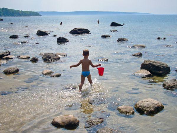 Awenda, people, children, beach, Summer
