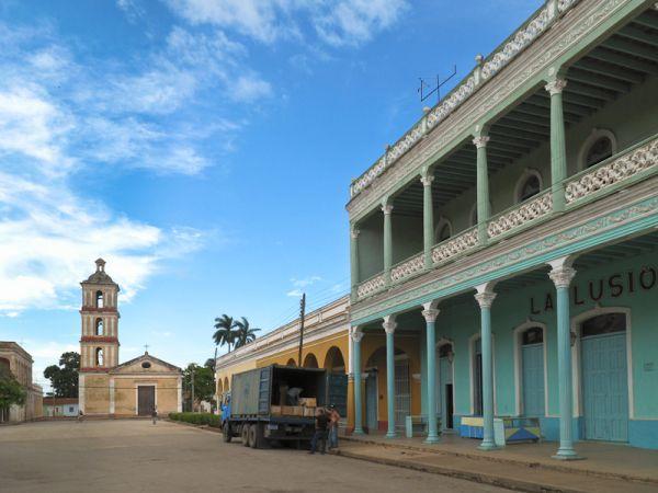 Cuba Remedios truck buildings tropical church