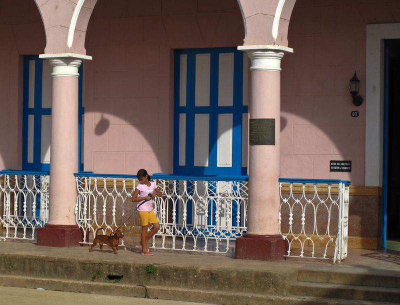 Remedios Cuba children pets dog pink
