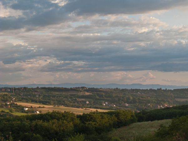 sky clouds hills Summer village