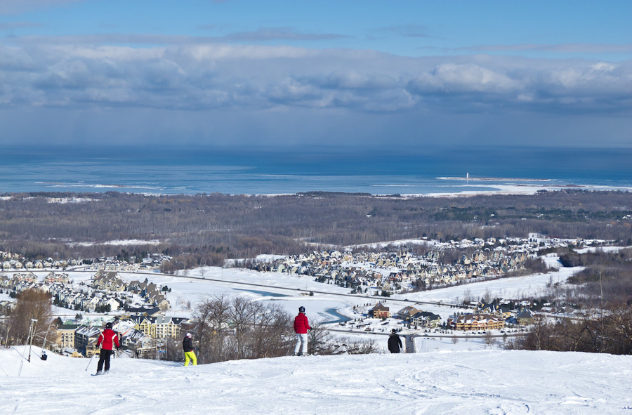 """""""Blue Mountain"""" Ontario Winter ski snow sky clouds"""