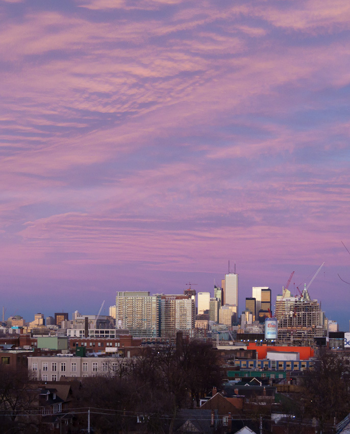 Toronto downtown pink sky clouds buildings city