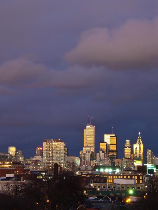 Toronto downtown buildings sky clouds storm sunset