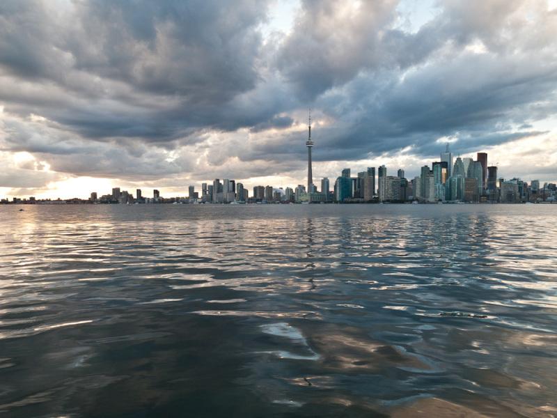 Toronto, skyline, sky, clouds, downtown, Islands